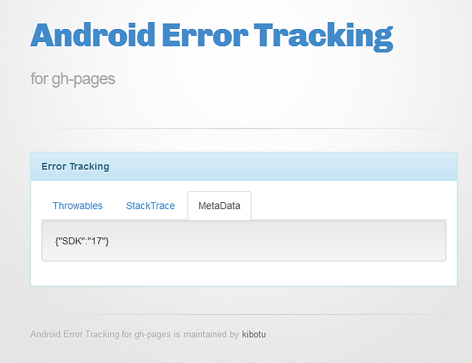Android Error Tracking for gh-page